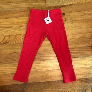 NWT. Busy Bee ribbed red leggings. Size 18 months.